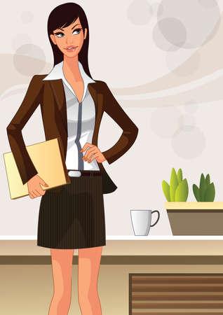 plant stand: businesswoman Illustration