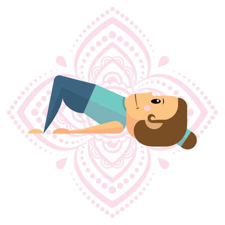 girl practising yoga in table pose Vettoriali