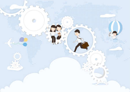 announcing: business people in a gear mechanism