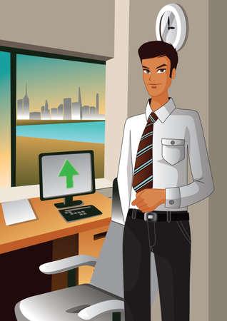 uploading: businessman uploading the data Illustration