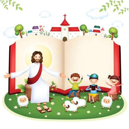 Bijbel studie Stock Illustratie