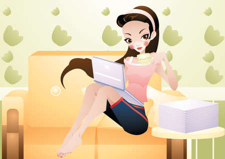 woman laptop: young woman doing work on laptop Illustration