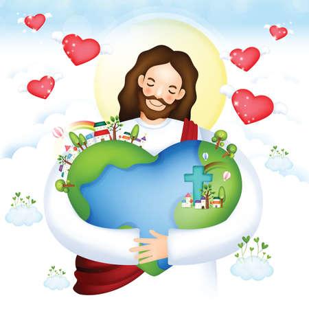 jesus hugging planet earth Vettoriali