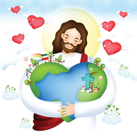 jesus hugging planet earth Çizim