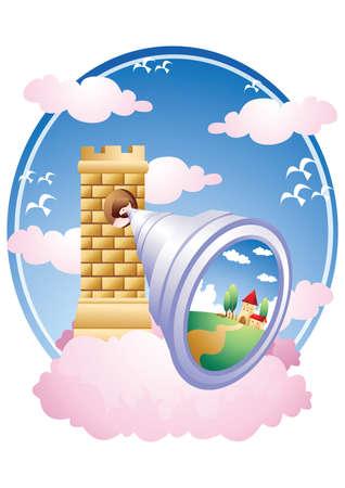 looking through: jesus looking through a telescope