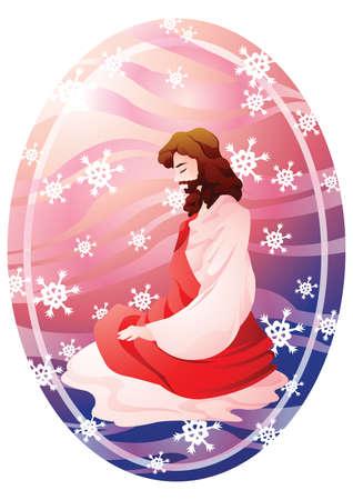 bended: jesus in prayer on bended knees Illustration