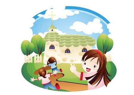 Niños corriendo con excitación a la iglesia Foto de archivo - 52717708