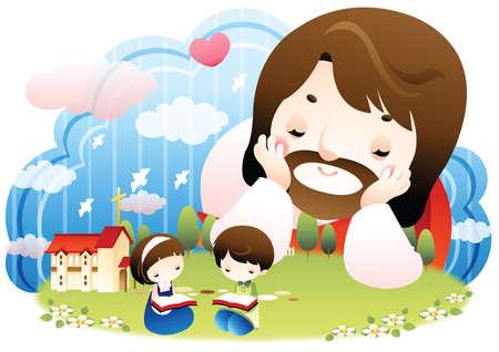 イエスを読む子供たちを見て  イラスト・ベクター素材