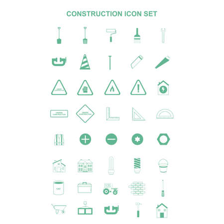 tractor warning: collection of construction icons