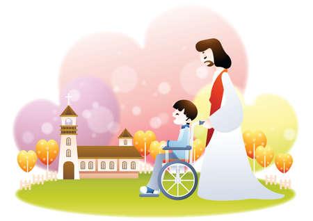 pushing: jesus pushing boy on a wheelchair