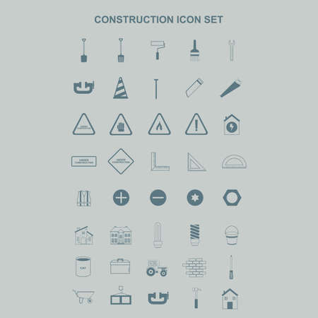 warning vest: collection of construction icons