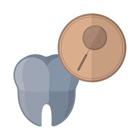 dental mirror: tooth with dental mirror icon Illustration