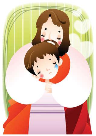 jesus comforting a sad boy