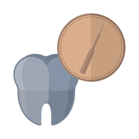 probe: tooth with dental probe icon Illustration