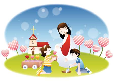 jesus watching children planting flowers Ilustrace