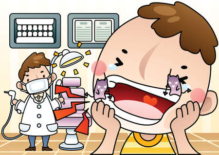 practitioners: dental doctor with patient Illustration
