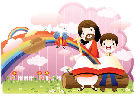 bible and cross: jesus and boy looking surprised