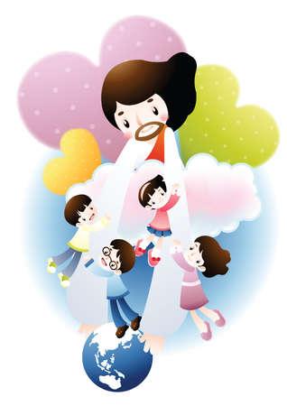jesus clouds: jesus with children Illustration