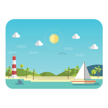 beach landscape: beach landscape Illustration
