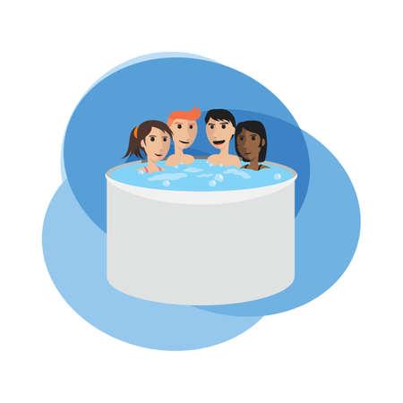 mensen onderdompelen in een warm bad
