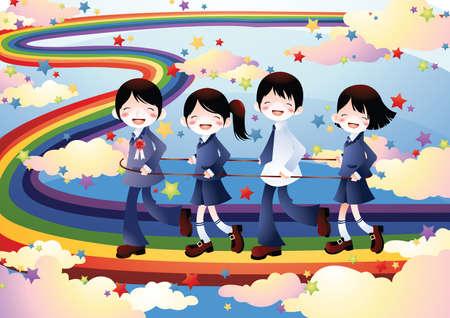 walking path: school kids walking on a rainbow path Illustration