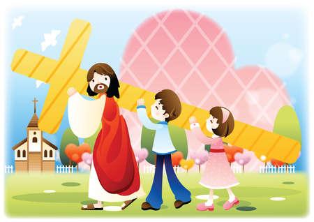 아이들과 함께 십자가를 들고 예수 일러스트