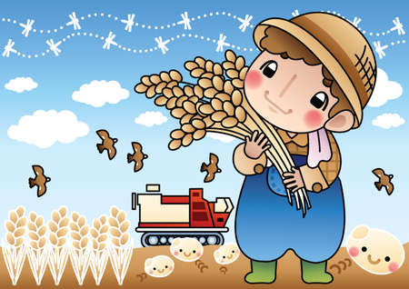 stalks: farmer holding wheat stalks Illustration