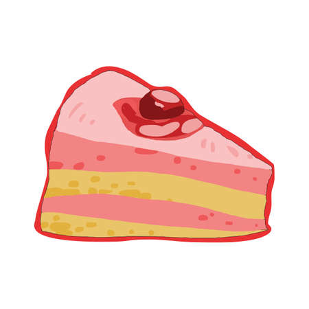 strawberry cake: strawberry cake slice Illustration