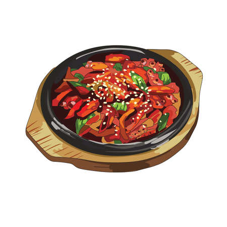 spicy: spicy hotplate meal Illustration