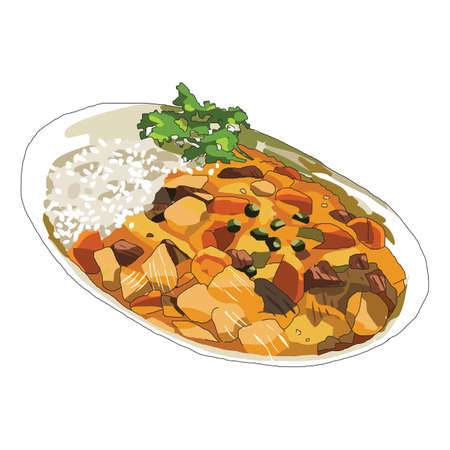 curry rice: curry rice meal Illustration