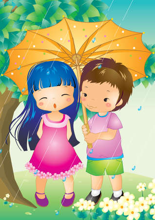 girl in rain: boy and girl in the rain with an umbrella Illustration