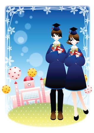 degree: graduates with university degree Illustration