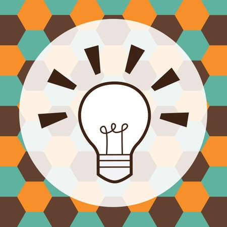 filament: electric lightbulb on hexagon background
