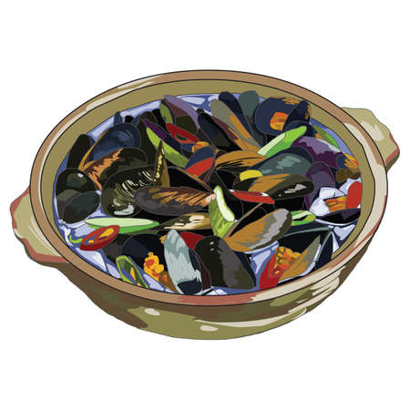 clay pot: mussels clay pot dish