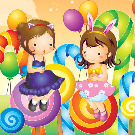 two girls: two girls sitting on lollipop Illustration