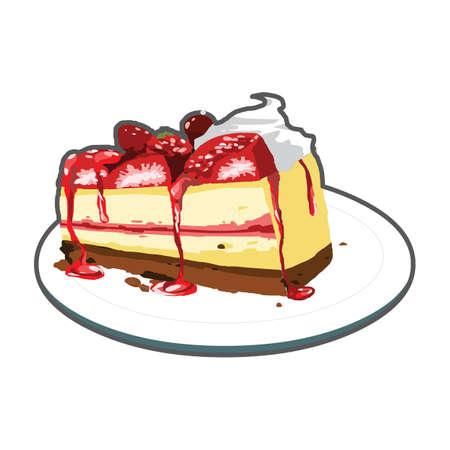 slice of cake: strawberry cake slice Illustration