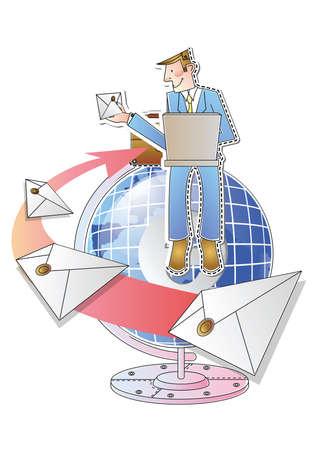 sending: businessman sending emails Illustration