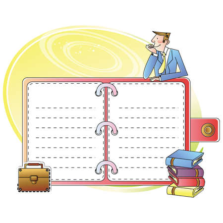 diary: businessman with diary Illustration