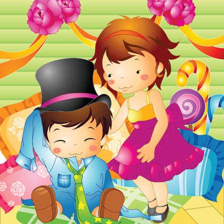 dressing up: children dressing up Illustration