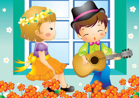 boy playing guitar: boy playing guitar for a girl Illustration