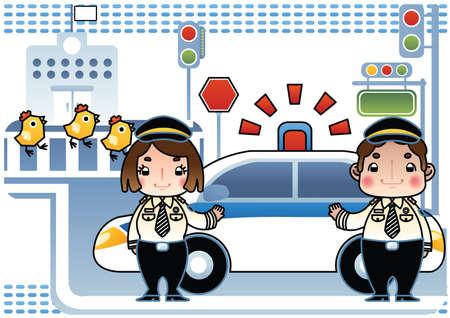 traffic police: traffic police with siren car Illustration
