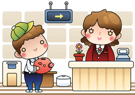 clerks: boy with piggy bank at office