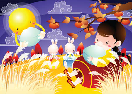 asian bunny: girl and rabbits eating with the moon Illustration