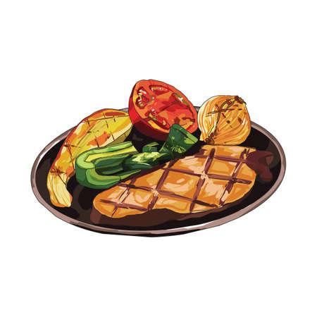 steak beef: beef steak with vegetables