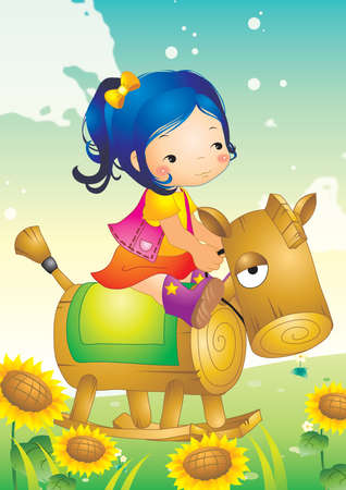 wooden toy: girl sitting on wooden toy horse Illustration