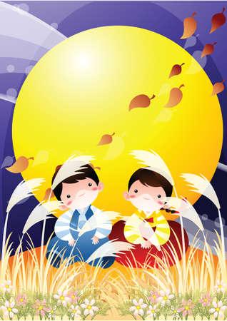 admiring: chinese couple admiring the moon Illustration