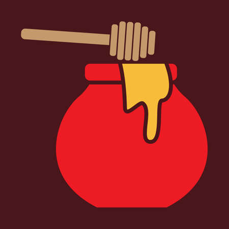honey pot: honey pot and stick Illustration
