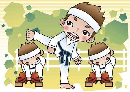 breaking: karate boys breaking bricks