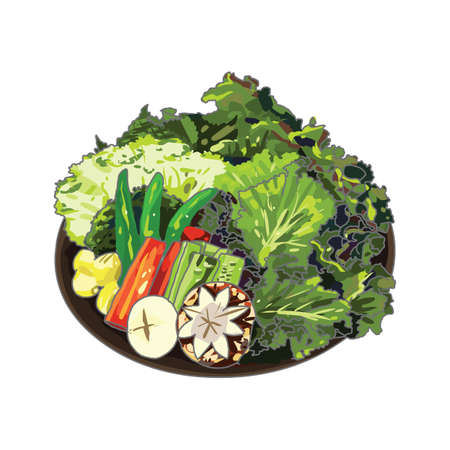 raw: a plate of raw vegetables Illustration