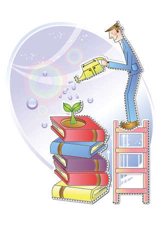 pouring: businessman pouring water on books Illustration
